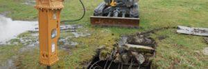 Bourání betonové jímky hydraulickým kladivem