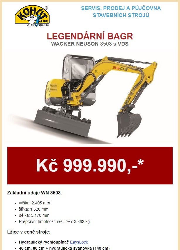 Legendární bagr WN3503 VDS