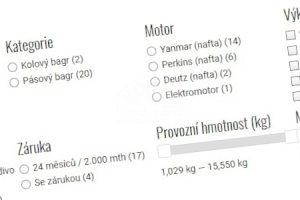 Filtrování strojů podle parametrů