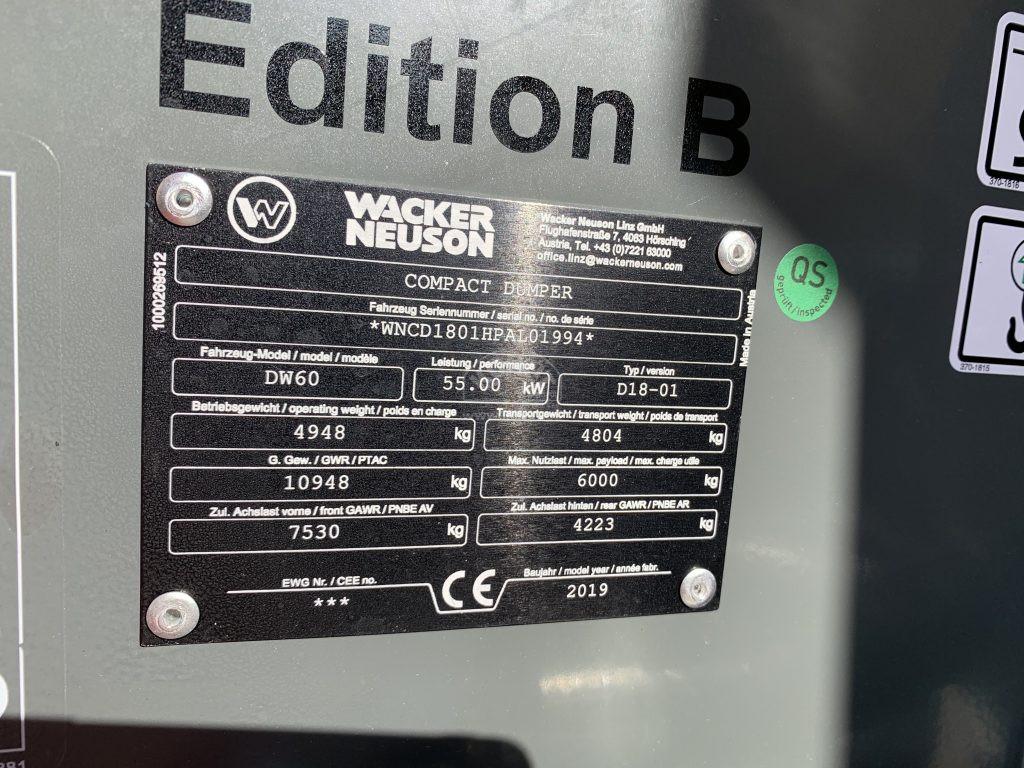 Použitý dumper DW60 – výrobní štítek