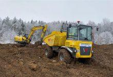 Kolový dumper DV100 a bagr 14504